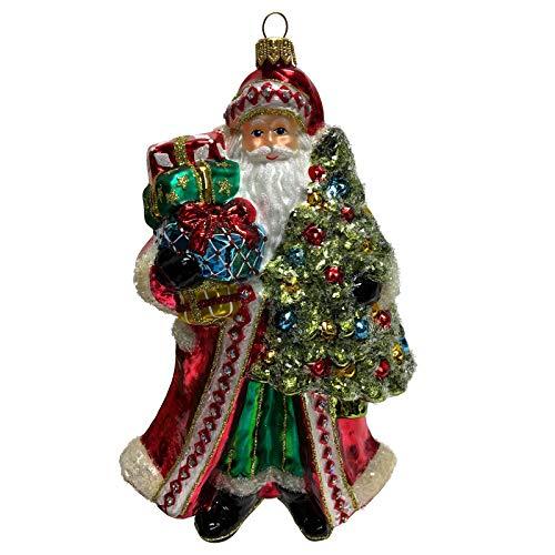 Pinnacle Peak Trading Company Santa Claus with Christmas Tree and Presents Polish Glass Ornament Decoration