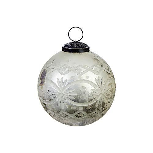 Raz Silvertone Etched Mercury Ball 4 inch Acrylic Decorative Christmas Ornament