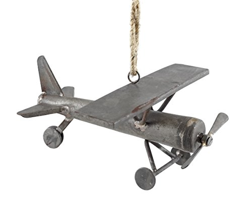 Creative Co-op Rustic Style Aviation Airplane Hanging Christmas Ornament