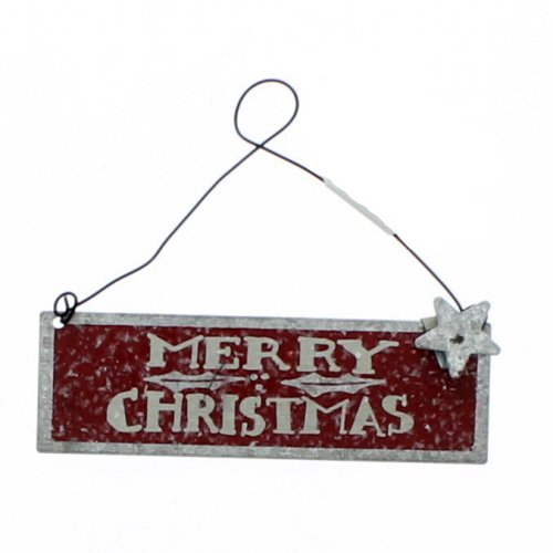 Primitives By Kathy Red Merry Christmas 4 Inches x 1.25 Inches Glitter Metal Wire Tin Decorative Hanging Ornament
