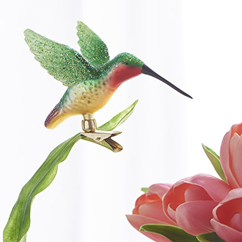 RAZ Imports Hummingbird Glitter 5 x 3 Inch Glass Clip-On Decorative Christmas Ornament Figurine