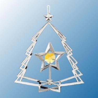 Chrome Star in Tree Ornament – Yellow Swarovski Crystal
