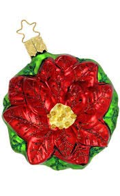 Inge Glas Green Red Rosa Poinsettia German Glass Christmas Ornament