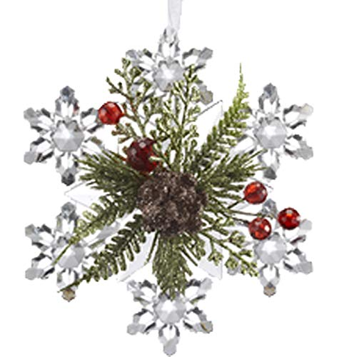 Ganz U.S.A., LLC Mistletoe Krystal Pine with Red Berries Snowflake Clear Christmas Ornaments for Holiday Christmas Tree Decor Decorations Xmas Gifts Unique Starburst Snowflakes