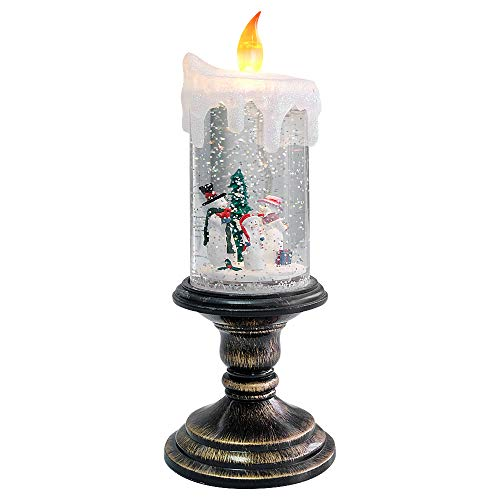 Eldnacele Battery Operated Lighted Flameless Candles Christmas Snow Globe Candle Light Swirling Water Glittering Spinning Candles for Home Decoration(Snowmen Family)