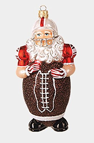 Pinnacle Peak Trading Company Football Body Santa Claus Polish Glass Christmas Tree Ornament Sports Decoration