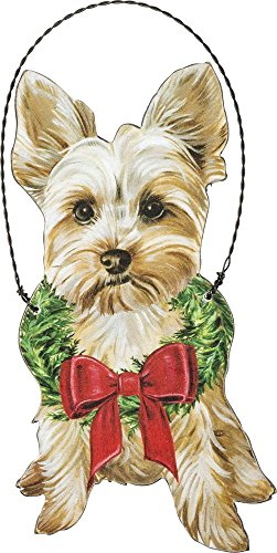 Primitives by Kathy Christmas Yorkie Wooden Decorative Hanging Ornament