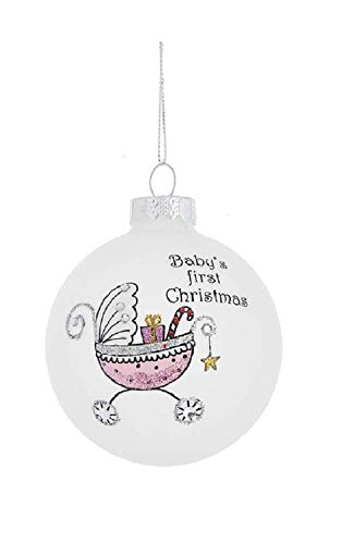 Midwest CBK Baby's First Christmas Buggy Stroller Ornament 3″ H (Girl)