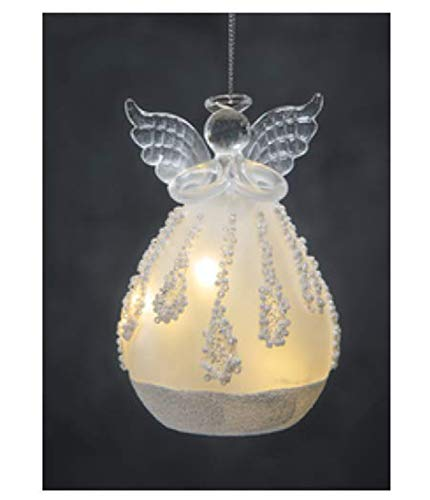 Ganz Battery Operated Angel LED Holiday Frosted Ornaments ~ Choose from Four Designs (Angel (B))