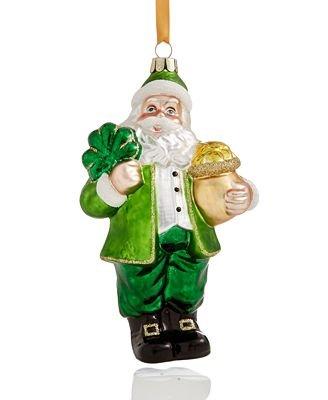 Holiday Lane Glass Irish Santa Ornament