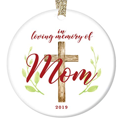 Loving Memory Mom Ornament Christmas 2019 Remember & Honor Mommy Mother Mama Porcelain Keepsake Memorial Gift 3″ Flat Ceramic Collectible Holiday Decoration Memento with Gold Ribbon & Free Box