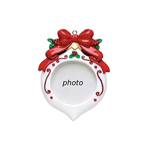 Personalized Photo Frame Christmas Tree Ornament 2019 – Round Red White Generic Picture Display Bow Peppermint Berry Baby's First Memory Family Milestone Visit Grand-Kid Child – Free Customization