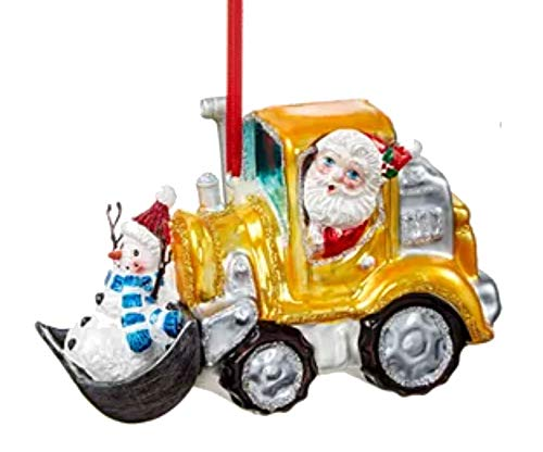 Holiday Lane Santas Favorites Santa in Snow Plow Earth Mover Ornament