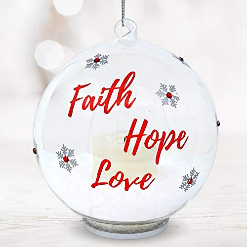 BANBERRY DESIGNS Faith Hope and Love Ornament – Hanging Glass Ball Christmas Ornament with LED Votive Candle and Glitter Inside – Hand Pained Snowflakes – Glass Christmas Ornament