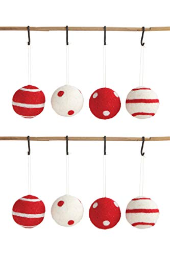 Creative Co-op Red & White Felt Ball Stripes & Polka Dots (Set of 4 Designs) Textile Ornaments, Brown