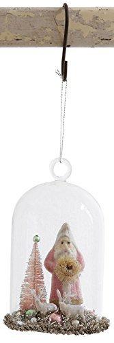 Creative Co-op Santa in Glass Cloche Ornament (Pink)