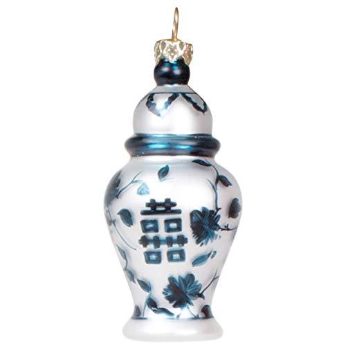 8 Oak Lane Sea Blue Floral Ginger Jar 7.5 x 4 Glass Decorative Hanging Ornament