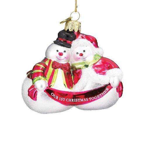 Noble Gems Kurt Adler 3-1/2-Inch Glass Our First Christmas Snow Couple Ornament