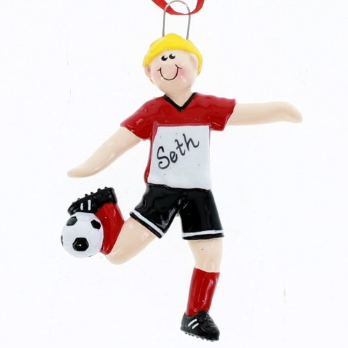 Soccer Boy, Blonde, Red Uniform, Personalized Christmas Ornament