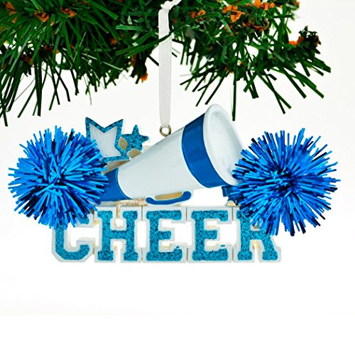 Personalized Cheer Christmas Tree Ornament 2019 – Blue Cheerleader Megaphone Star with Real Pompom Competition Girl Team Dancer High School Loud Proud Year – Free Customization
