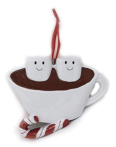 Hot Chocolate Cocoa Marshmallow Ornament Two Person Family Couple Engaged Boyfriend Girlfriend