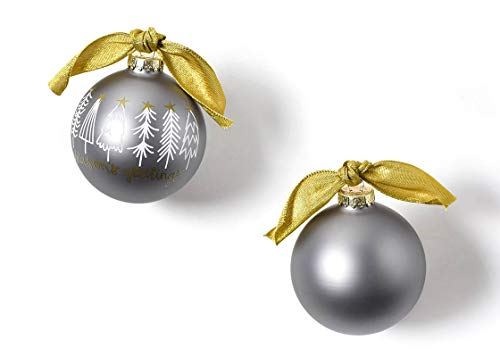 Coton Colors 100 MM Season's Greetings White Trees Glass Ornament