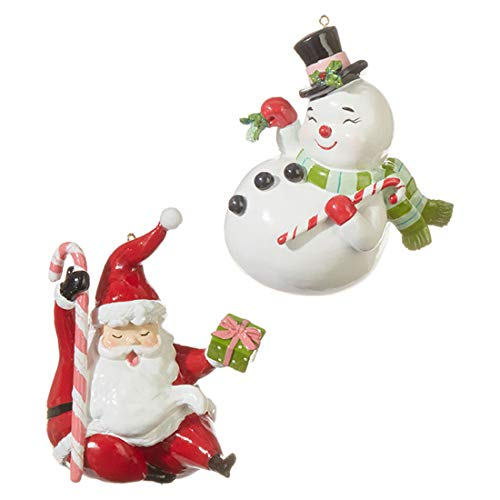 Snowman and Santa Rosy Red 5 x 4 Resin Stone Christmas Ornaments Set of 2