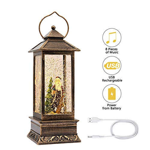 JEDAWN 12″ Lighted Snow Globe Lantern, Christmas Santa Claus Lantern, Water Lantern Glittering with Music USB and Battery Operated Singing Snow Globe for Kids, Home Decoration