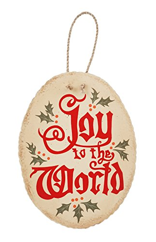 Creative Co-op Vintage Style Joy to The World Holiday Hanging Sign