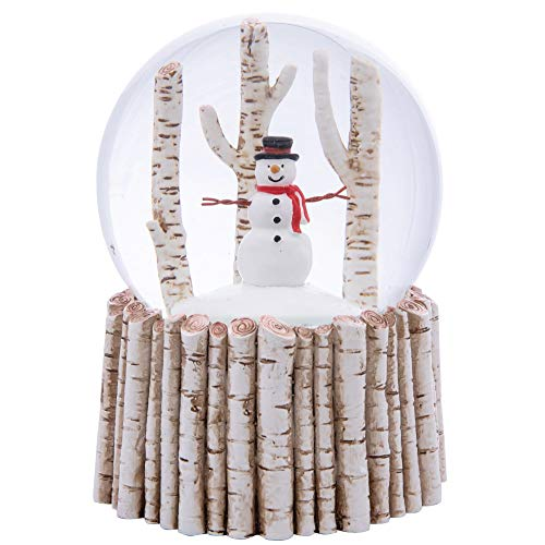 Majors Musical Snow Globe Glitter with Polyresin Base (White, Snowman)
