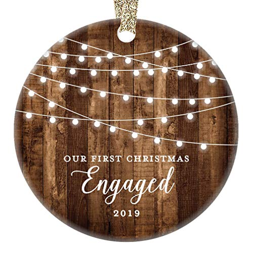 Engagement Keepsake Gifts 2019 First Christmas Engaged Ornament Newly Engaged Couple 1st Holiday Rustic Farmhouse Woodgrain Present 3″ Flat Circle Porcelain with Gold Ribbon & Free Gift Box