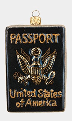 Pinnacle Peak Trading Company United States US Travel Passport Polish Glass Christmas Tree Ornament Decoration