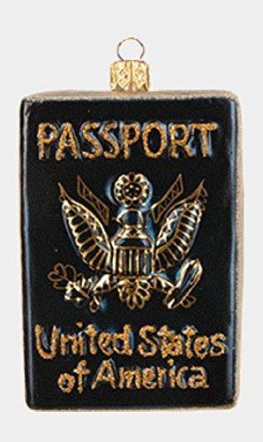 Pinnacle Peak Trading Company United States US Travel Passport Polish Glass Christmas Tree Ornament Decoration