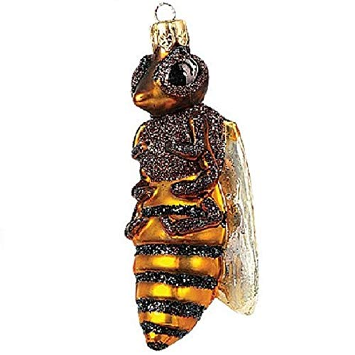 Pinnacle Peak Trading Company Honey Bee Polish Glass Christmas Ornament Made in Poland Tree Decoration