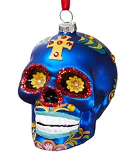Holiday Lane Day of The Dead Blue Sugar Skull Ornament
