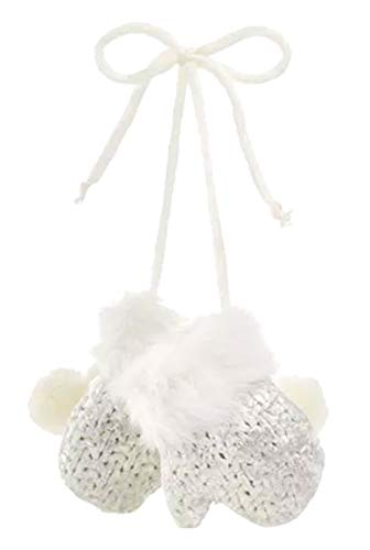 Holiday Lane White Mittens with Silver Foil Ornament