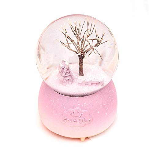 ANQIA Tree of Life Musical Snow Globe 100mm Resin Water Globe with Color Changed Led Light(Purple)