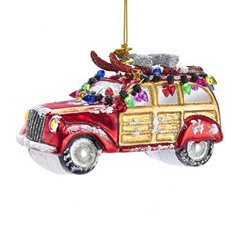 Kurt Adler 5-inch Noble Gems Glass Car with Christmas Lights Hanging Ornament