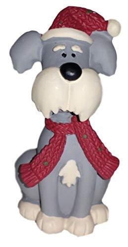 Blossom Bucket Grey Schnauzer Puppy Dog in Scarf & Santa Hat Resin Figurine #1