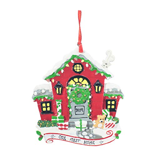 Personalized Christmas Tree Decoration Ornament 2019 – Traditional Home Décor – New Year Santa Gift – Holiday Fun w Hanging Hook – Christmas House (RED) – Free Customization