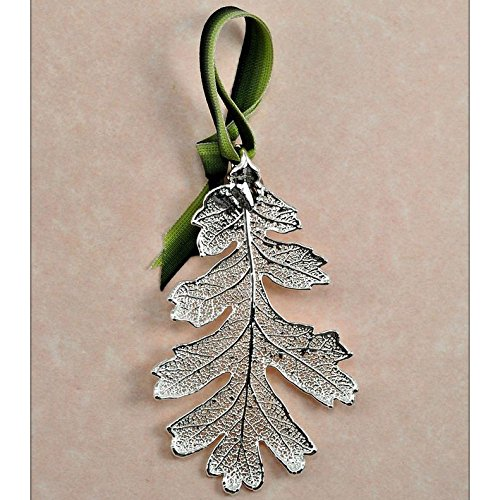 Still Life Lacy Oak Leaf Holiday Ornament in Silver