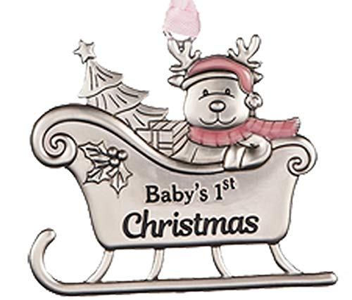 Baby Girls First Christmas Reindeer in Sleigh Ornament for Holiday Tree Decor Xmas Gifts 2019