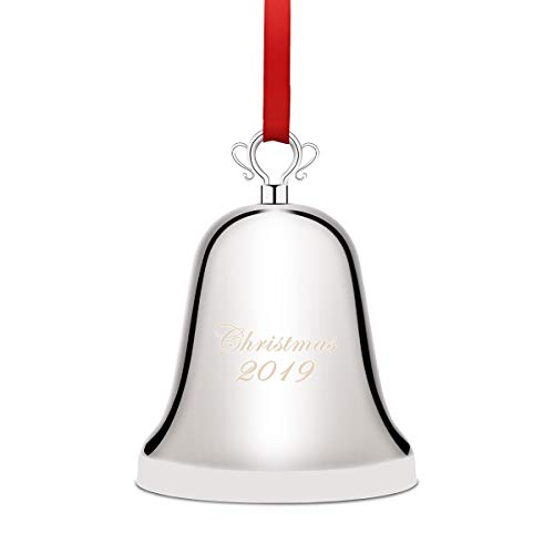 Coitak Annual Christmas Bell 2019, Silver-Plated Bell Ornament for Christmas Anniversary, Christmas Tree Ornament Decoration with Red Ribbon, Gift Box