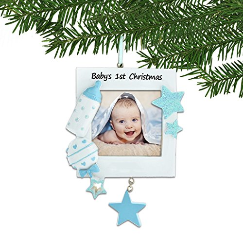 Personalized Baby's 1st Christmas Blue Photo Frame Tree Ornament 2019 – Toy Stars Bottle Rattle Boy's First New Mom Shower Picture Display Milestone Memory Grand-Son Gift Year – Free Customization