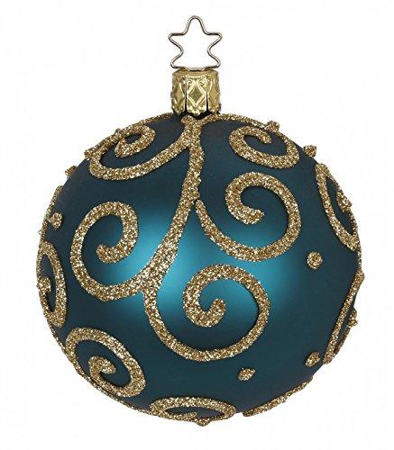 Inge-glas Kugel Ball 8 cm Barocco Blue Green 20272T008 German Glass Ornament