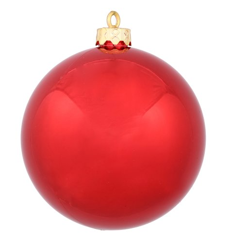 Vickerman Shiny Finish Seamless Shatterproof Christmas Ball Ornament, UV Resistant with Drilled Cap, 24 per Bag, 2.4″, Red
