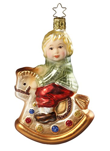 Inge-Glas Girl Toy Rocking Holiday 1-051-15 German Glass Christmas Ornament