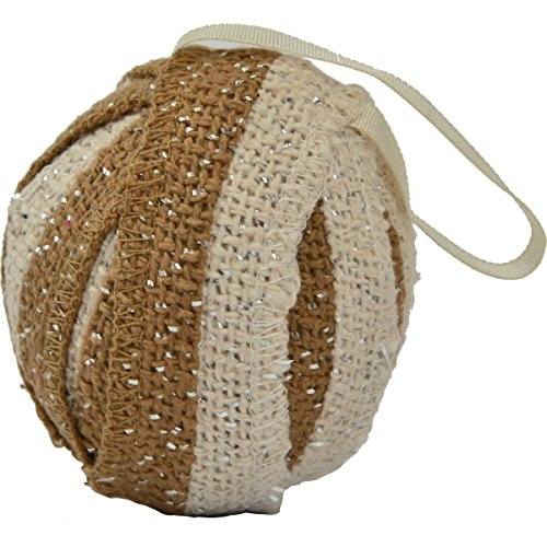 VHC Brands Christmas Holiday Decor-Shimmer Burlap Creme Ornament Set of 6, Natural Tan