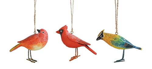 Creative Co-op Winter Woodland Birds Hanging Ornaments – Set of 3