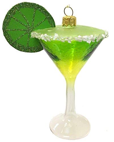 Pinnacle Peak Trading Company Green Margarita with Salt and Lime Polish Glass Christmas Tree Ornament Alcohol